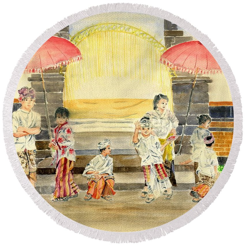 Balinese Children Round Beach Towel featuring the painting Balinese Children In Traditional Clothing by Melly Terpening