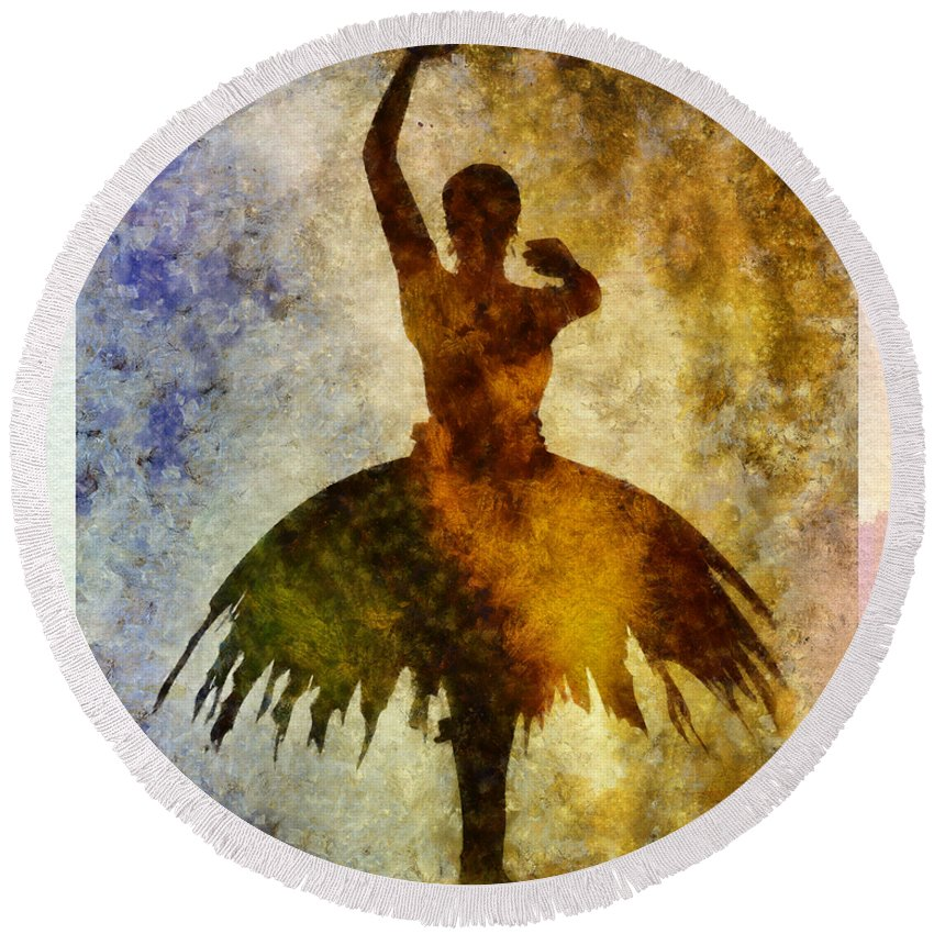 Ballet Round Beach Towel featuring the mixed media Ballerina 1 With Border by Angelina Vick