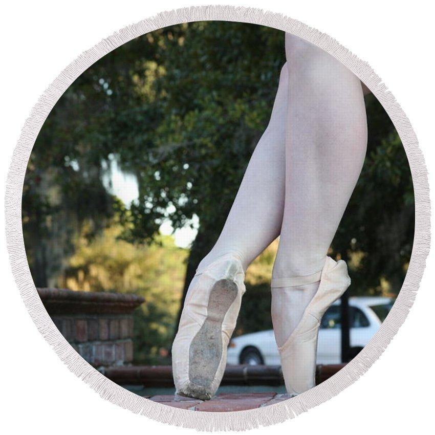 Pointe Shows Round Beach Towel featuring the photograph Ballet Legs by Jan Bennicoff
