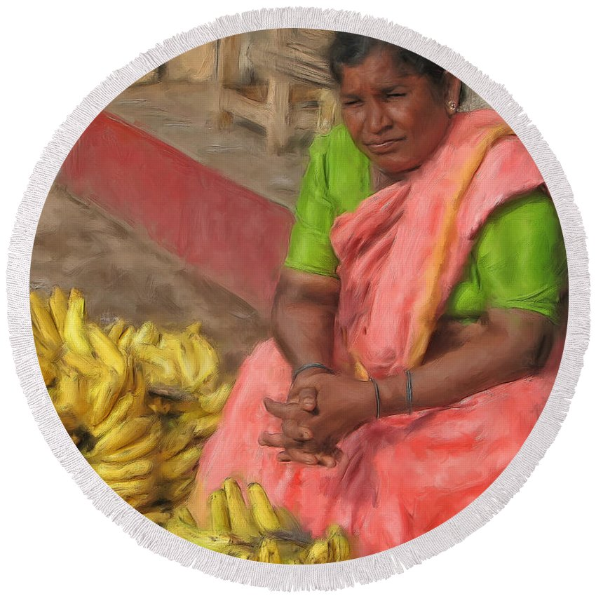 Banana Round Beach Towel featuring the painting Banana Seller by Dominic Piperata