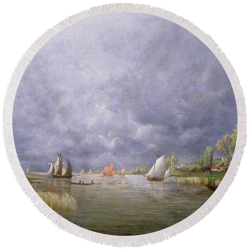 River; Landscape; Stormy; Flooded; Swollen; Village; Sailing Boats; Sky; Grey Round Beach Towel featuring the painting Banks Of The Loire In Spring by Charles Leroux