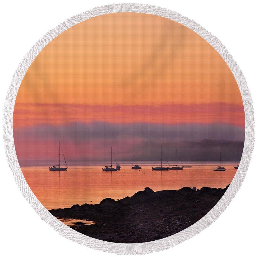 Acadia Round Beach Towel featuring the photograph Bar Harbor Dawn by Steve Gadomski