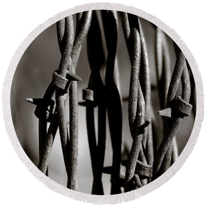 Barbbed Wire Round Beach Towel featuring the photograph Barbbed Wire 2 by Sean Wray