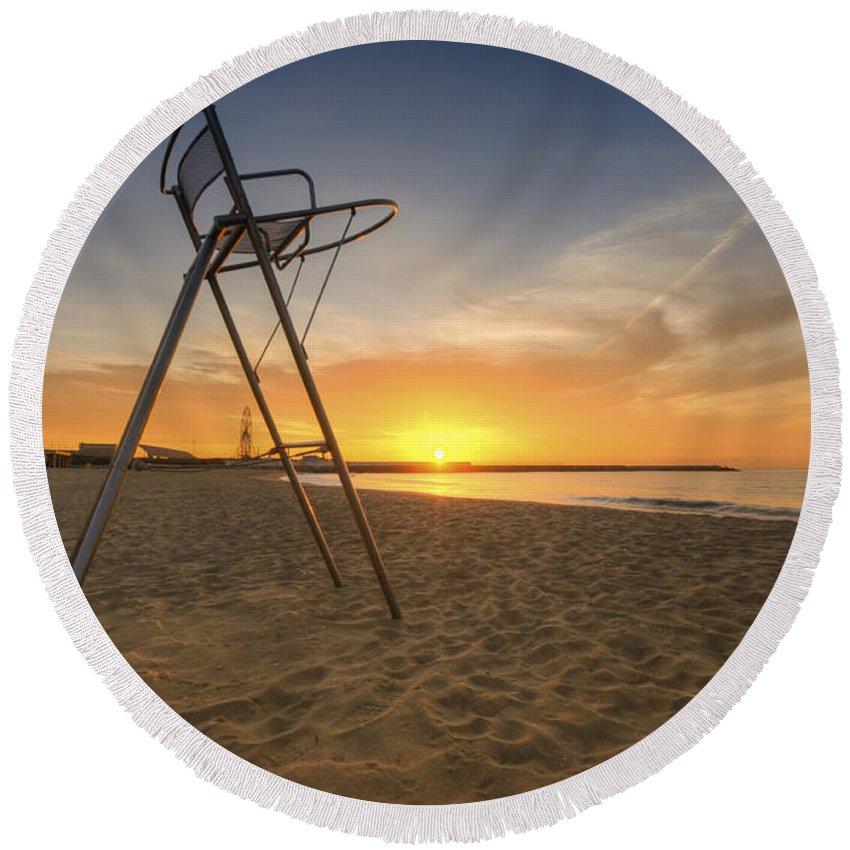 Yhun Suarez Round Beach Towel featuring the photograph Barcelona Baywatch by Yhun Suarez