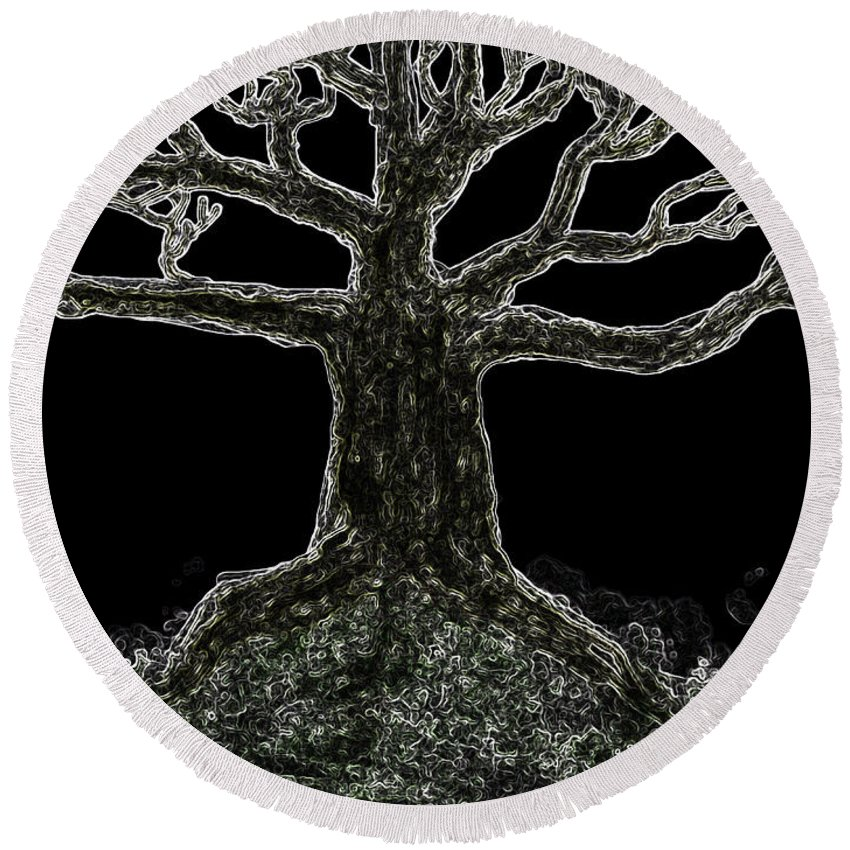 Round Beach Towel featuring the digital art Bare Branches II by Debbie Portwood