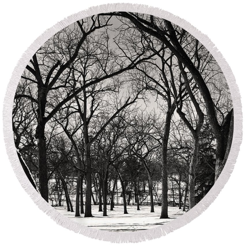 Winter Scene Round Beach Towel featuring the photograph Bare by Edward Peterson