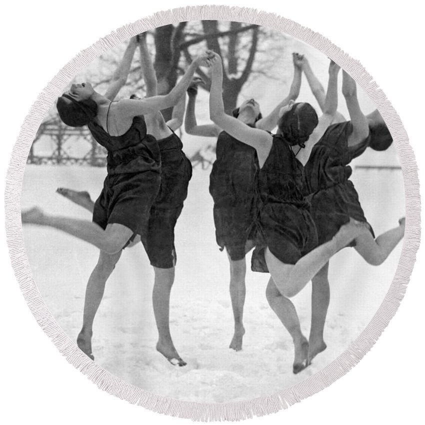 1910's Round Beach Towel featuring the photograph Barefoot Dance In The Snow by Underwood Archives