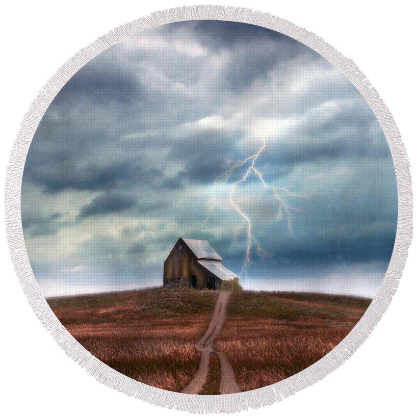 Barn Round Beach Towel featuring the photograph Barn In Lightning Storm by Jill Battaglia