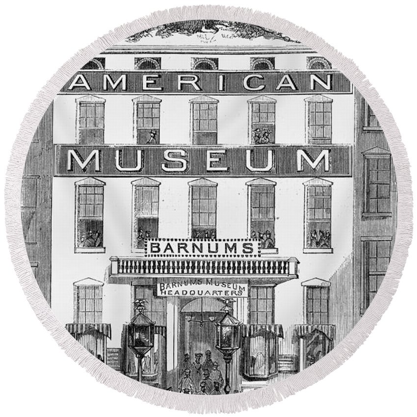 1865 Round Beach Towel featuring the photograph Barnums Museum, 1865 by Granger