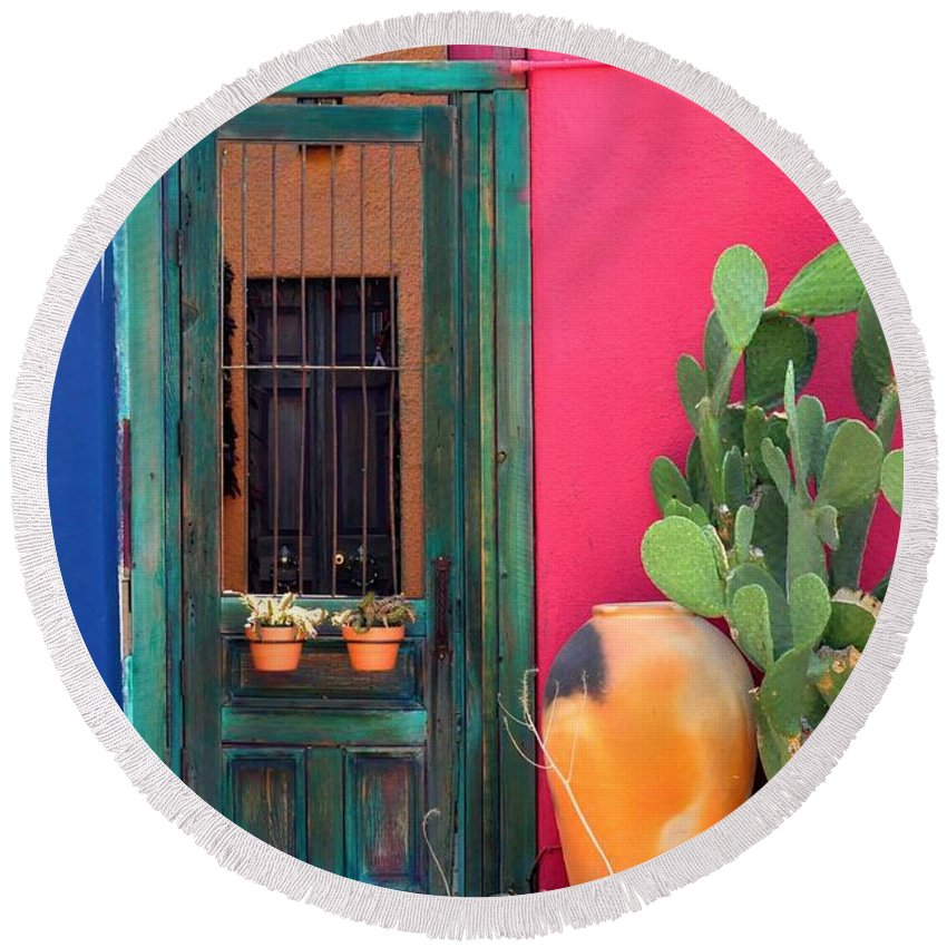 Tucson Round Beach Towel featuring the photograph Barrio Door Pink Blue And Gray by Mark Valentine