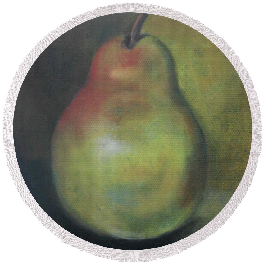 Still Life Round Beach Towel featuring the painting Bartlett Pear by Marlene Book