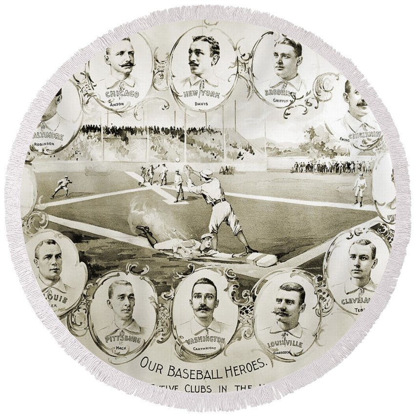 1895 Round Beach Towel featuring the photograph Baseball, 1895 by Granger
