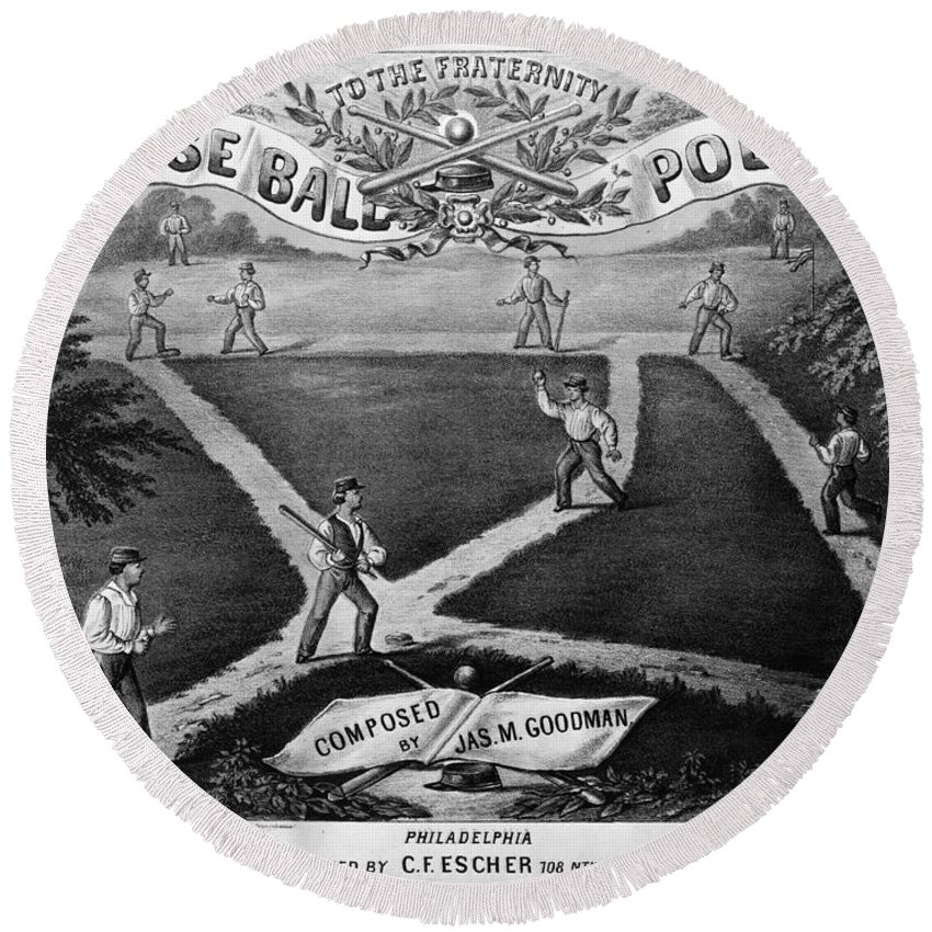 1867 Round Beach Towel featuring the photograph Baseball Polka, 1867 by Granger