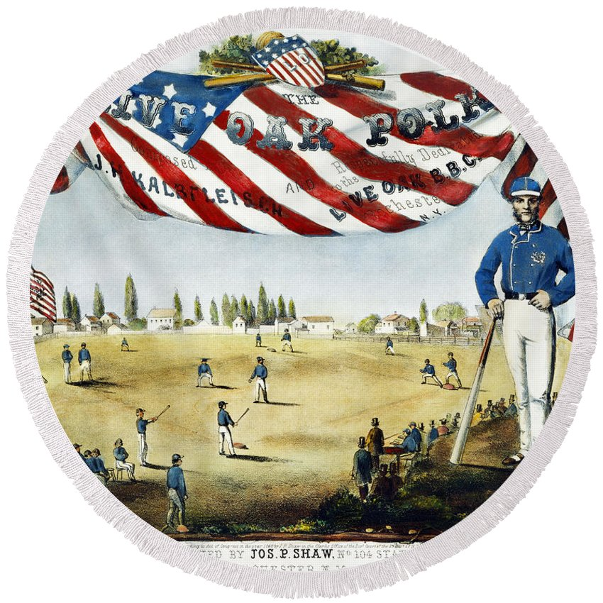1860 Round Beach Towel featuring the photograph Baseball Song Sheet, 1860 by Granger