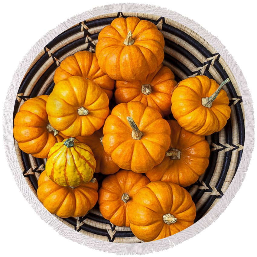 Basket Full Stack Round Beach Towel featuring the photograph Basket Full Of Small Pumpkins by Garry Gay