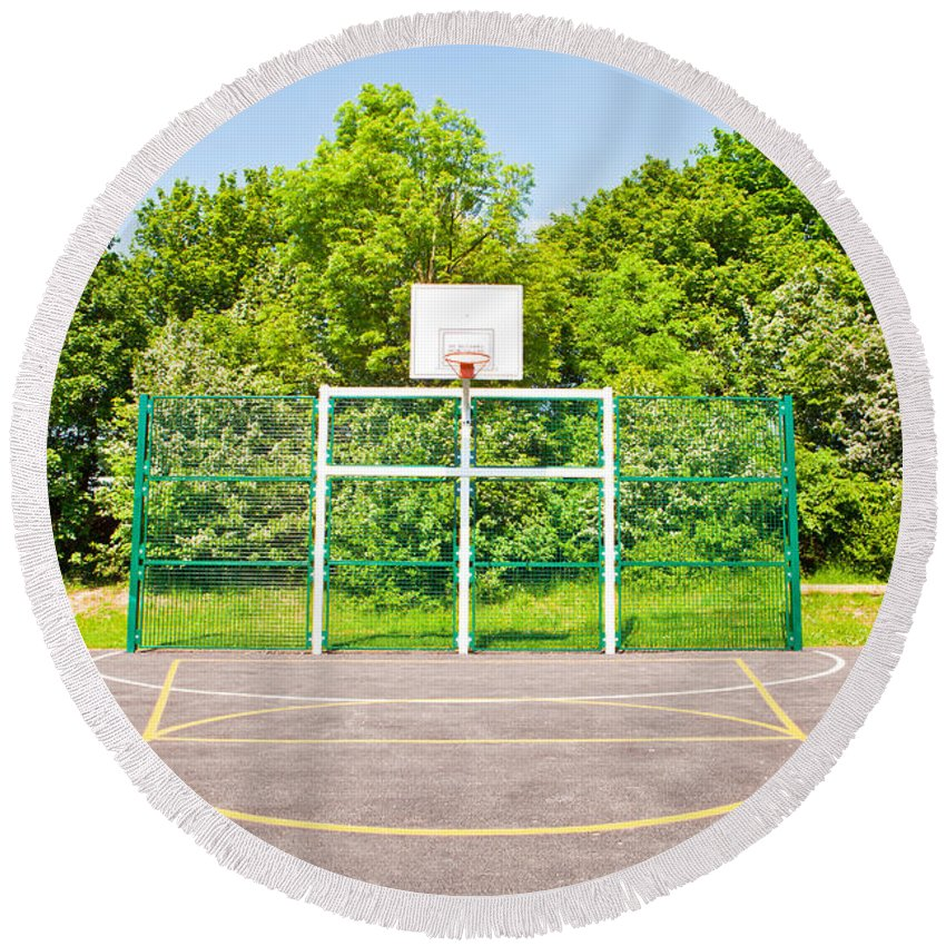 Athletes Round Beach Towel featuring the photograph Basketball Court by Tom Gowanlock