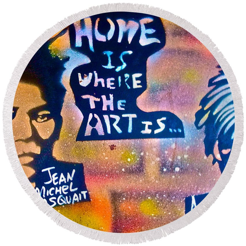 Graffiti Round Beach Towel featuring the painting Basquait And Worhol by Tony B Conscious