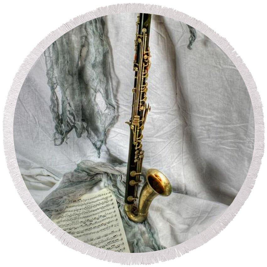 Bass Clarinet Round Beach Towel featuring the photograph Bass Clarinet by Dan Stone