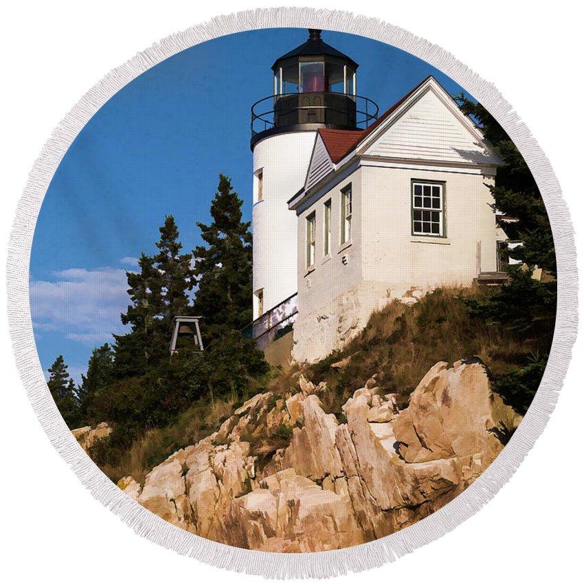 Fall Autumn Mdi Mount Dessert Island Maine Acadia National Park Lighthouse Light House Oil Round Beach Towel featuring the photograph Bass Harbor Light Acadia National Park Maine by Edward Fielding