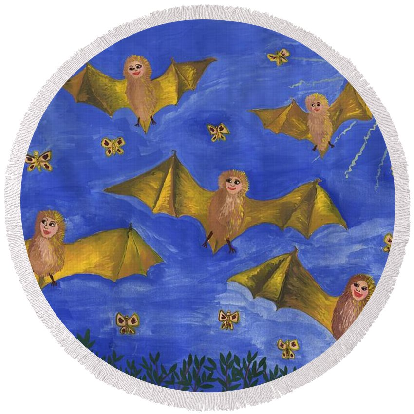 Bat Round Beach Towel featuring the painting Bat People At The Pipistrelle Party by Sushila Burgess