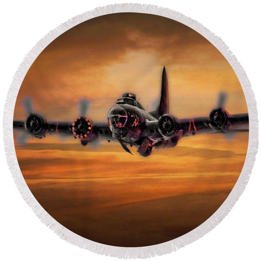 Aviation Round Beach Towel featuring the photograph Battle Scarred But Heading Home by Chris Lord