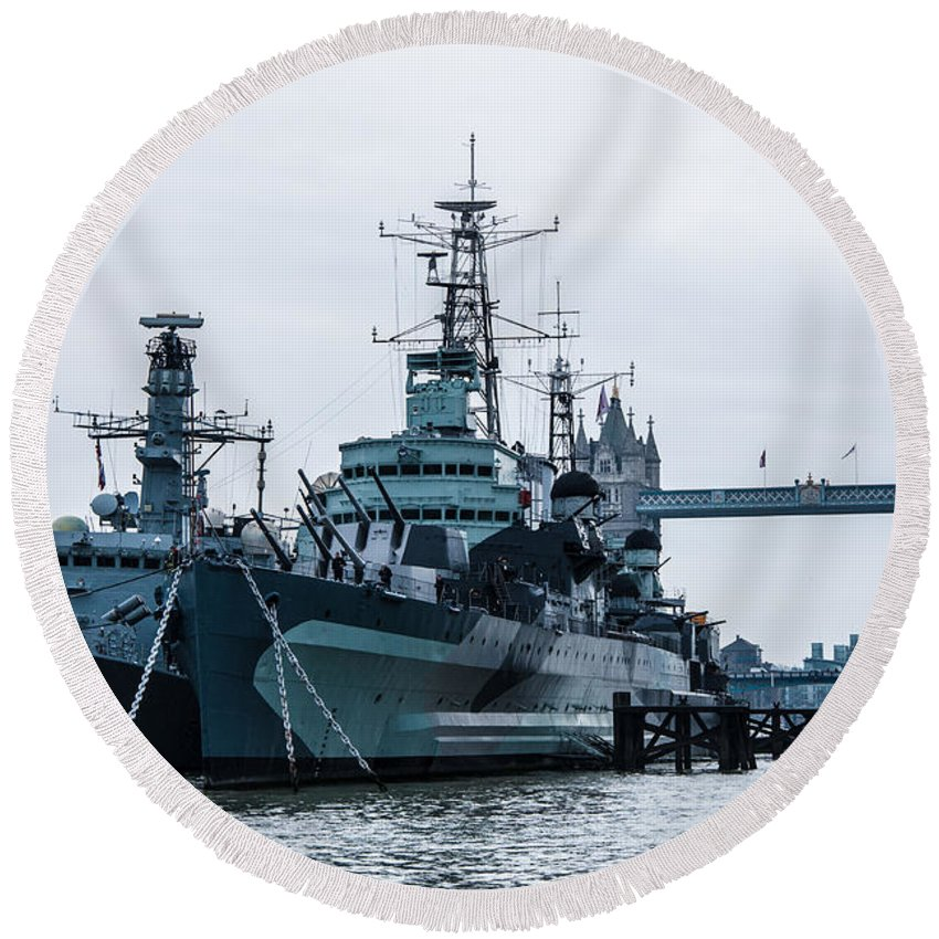 Battleship Round Beach Towel featuring the photograph Battleships And Tugboat by Dawn OConnor