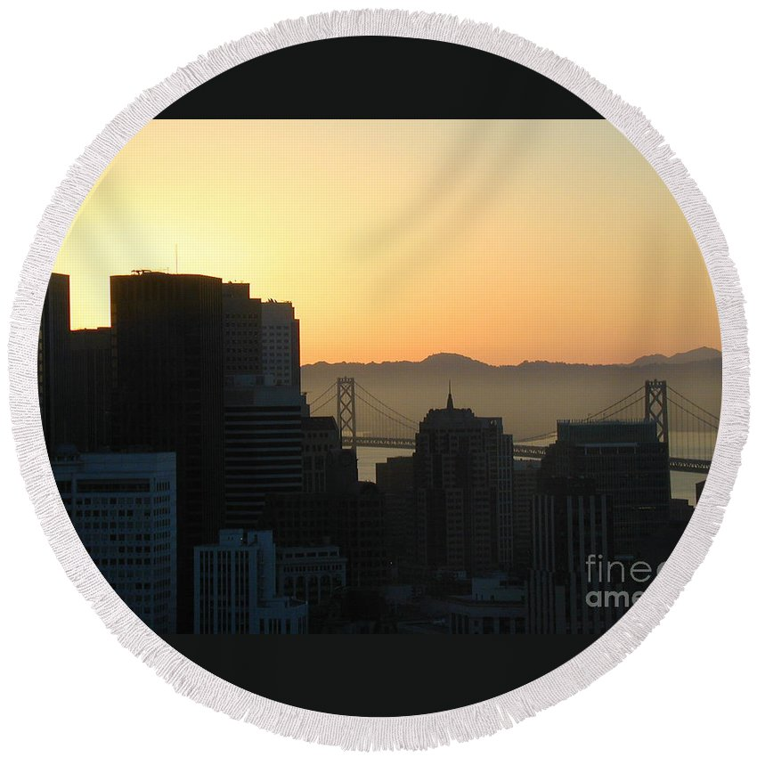 Buildings Round Beach Towel featuring the photograph Bay Bridge by Peggy Starks