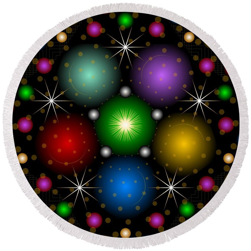 Digital Round Beach Towel featuring the digital art Be Jeweled 2012 by Kathryn Strick