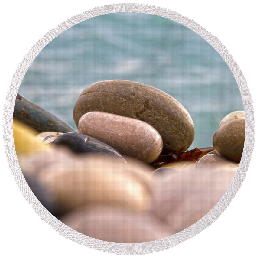 Abstract Round Beach Towel featuring the photograph Beach And Stones by Stelios Kleanthous
