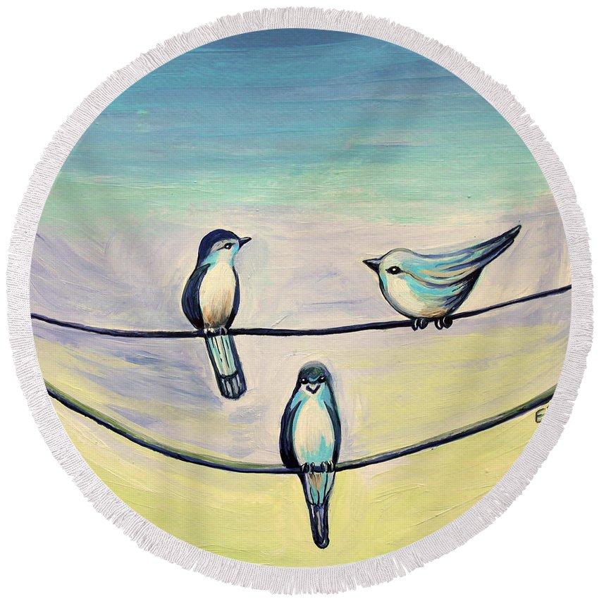 Beach Round Beach Towel featuring the painting Beach Birds by Elizabeth Robinette Tyndall