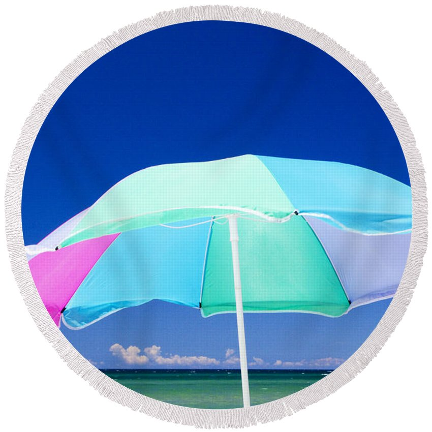 Art Round Beach Towel featuring the photograph Beach Umbrella At The Shore by Randall Nyhof