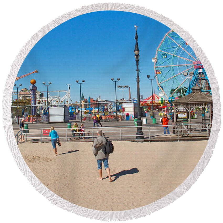 Coney Island Beach View Amusement Park Round Beach Towel featuring the photograph Beach View by Alice Gipson
