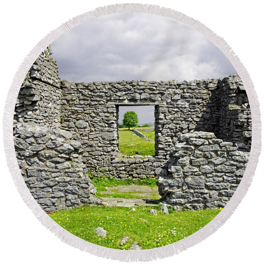 Countryside Round Beach Towel featuring the photograph Beam Engine House Remains At Magpie Mine - Sheldon by Rod Johnson