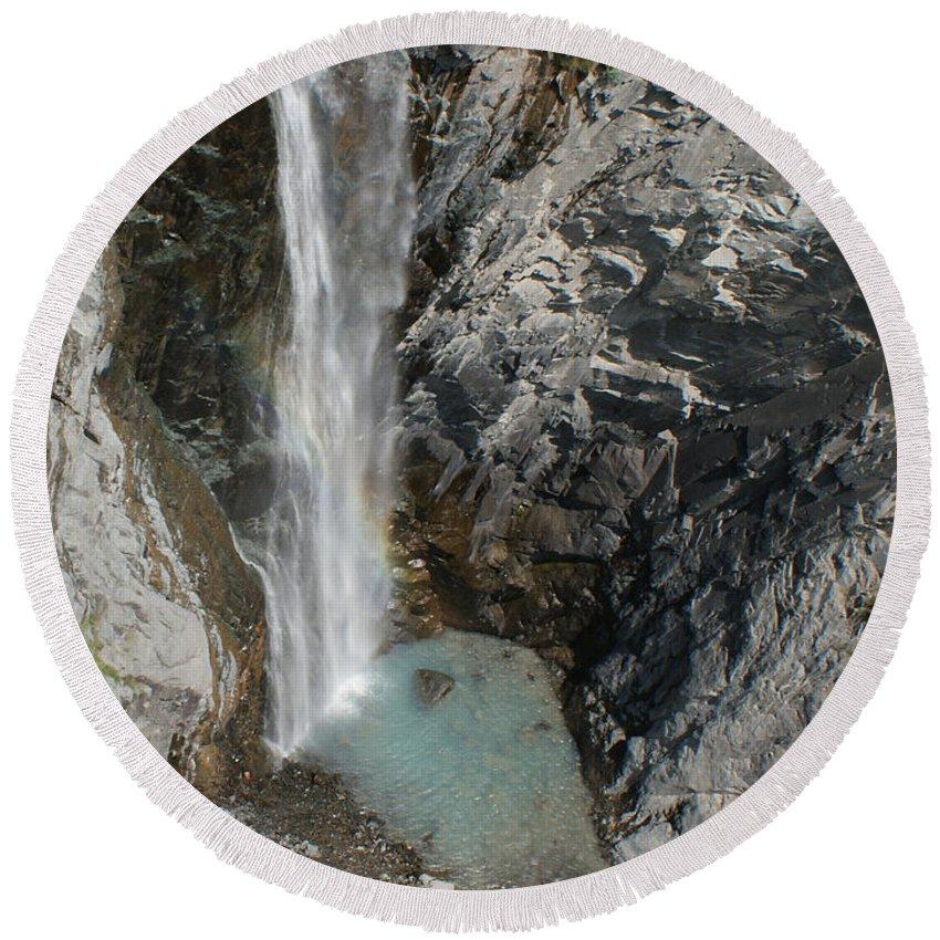 Bear Creek Falls Round Beach Towel featuring the photograph Bear Creek Falls by Ernie Echols