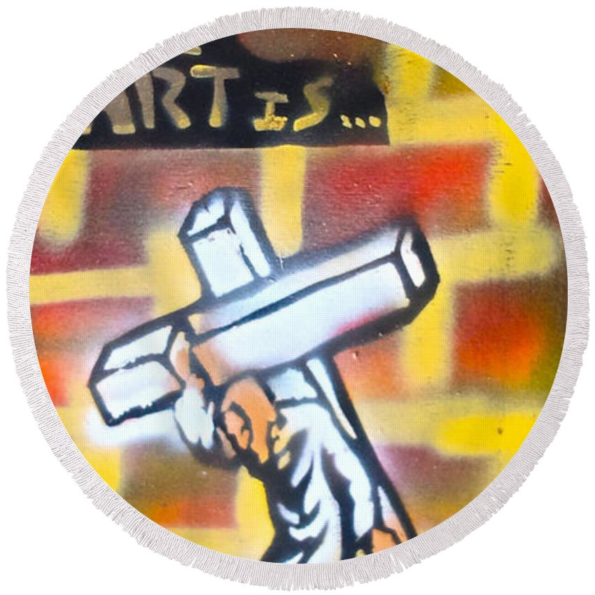 Graffiti Round Beach Towel featuring the painting Bearing The Cross by Tony B Conscious