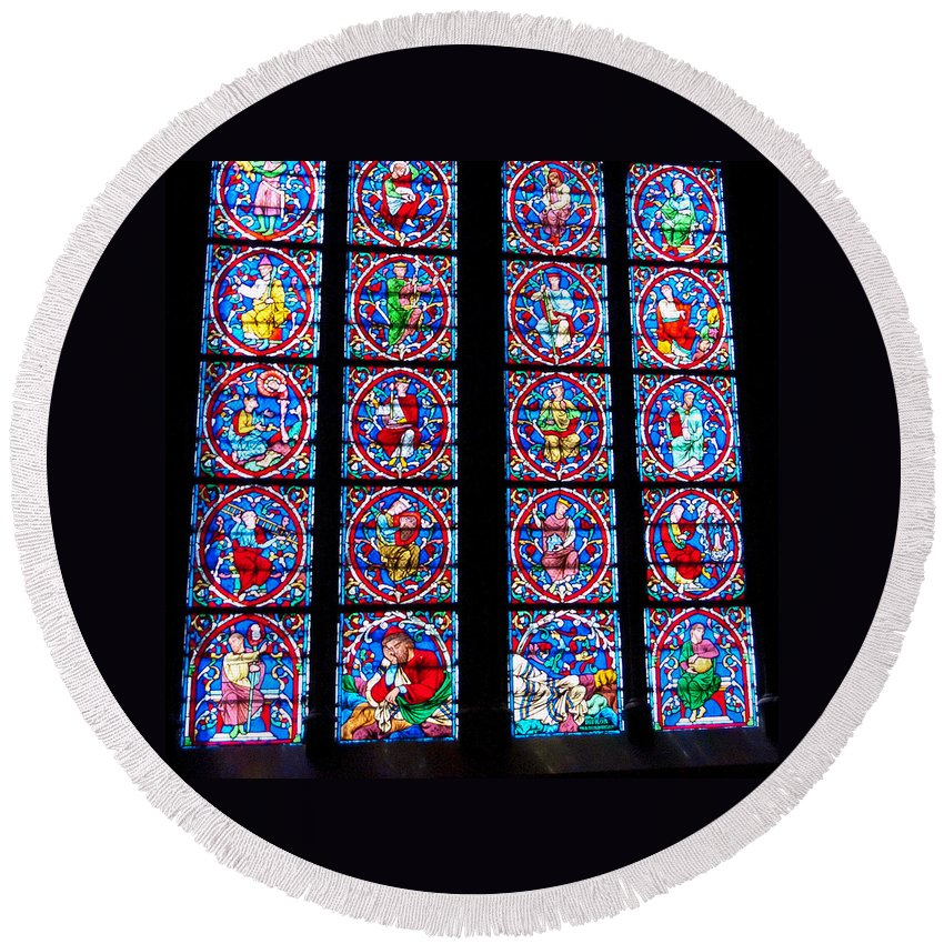 France Round Beach Towel featuring the photograph Beautiful Stained Glass At Notre Dame Cathedral by Jon Berghoff