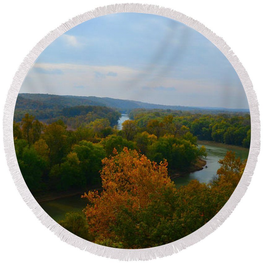 Landscape Round Beach Towel featuring the photograph Beauty On The Bluffs Autumn Colors by Peggy Franz