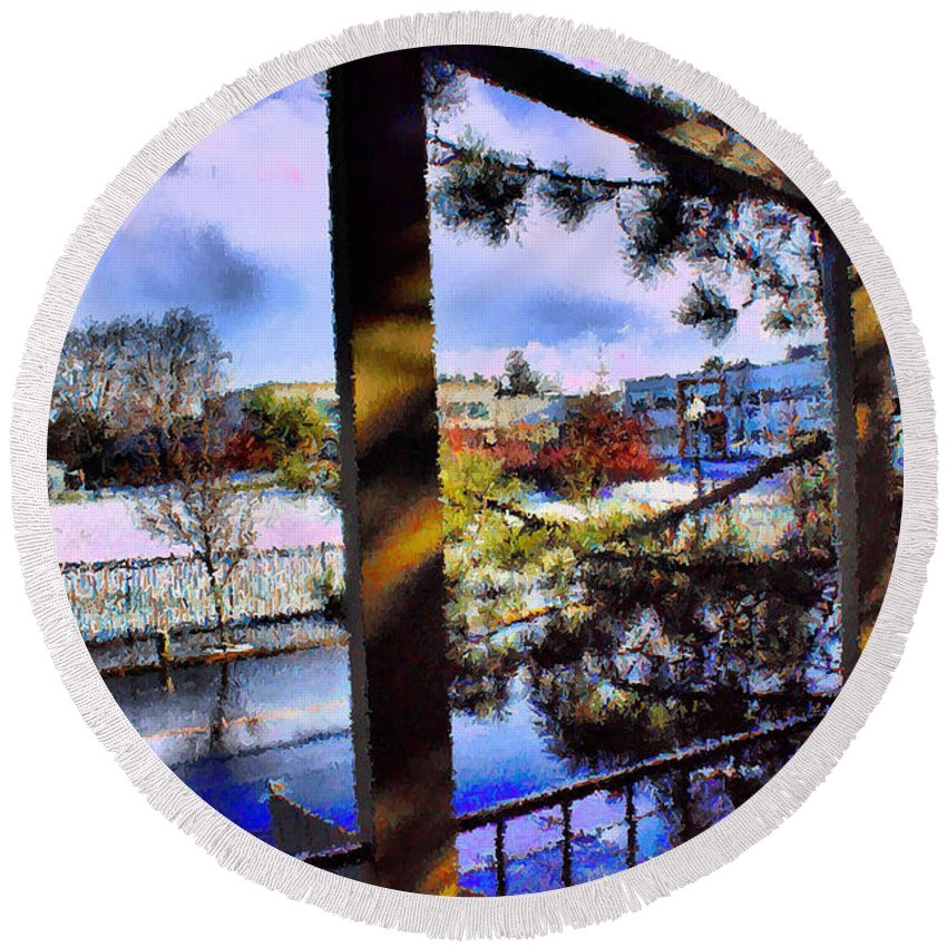Urban Impressionism 2011 Round Beach Towel featuring the mixed media Beaverton H.s. Winter 2011 by Terence Morrissey