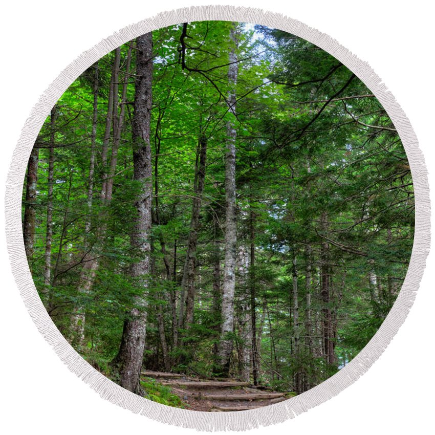 Acadia Round Beach Towel featuring the photograph Beech Mountain Trail Acadia by Steve Gadomski