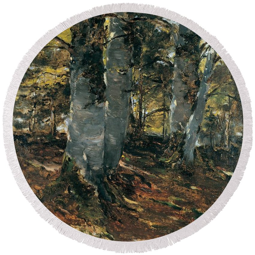 Germany Round Beach Towel featuring the painting Beechwoods At Polling Bavaria by Frank Duveneck