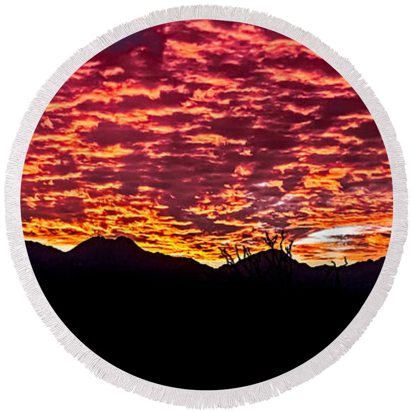 Sunrise Round Beach Towel featuring the photograph Believe It Or Not by Robert Bales