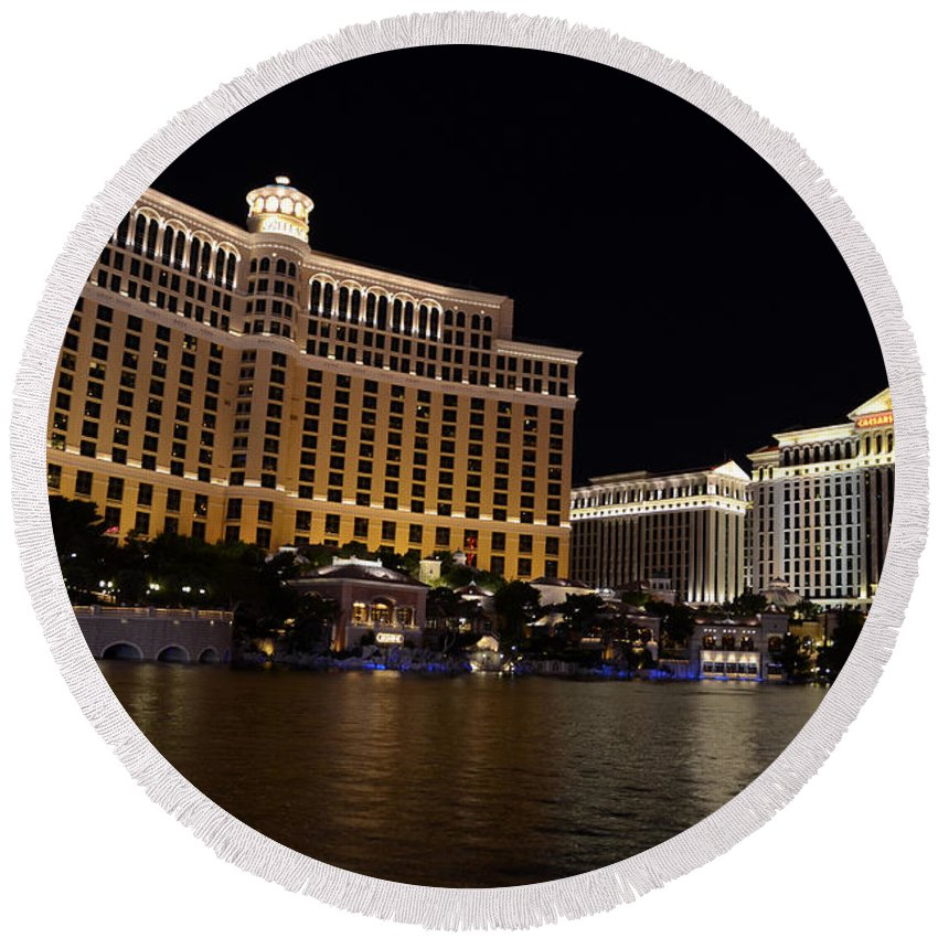 Bellagio Round Beach Towel featuring the photograph Bellagio And Ceasars by Cassie Marie Photography