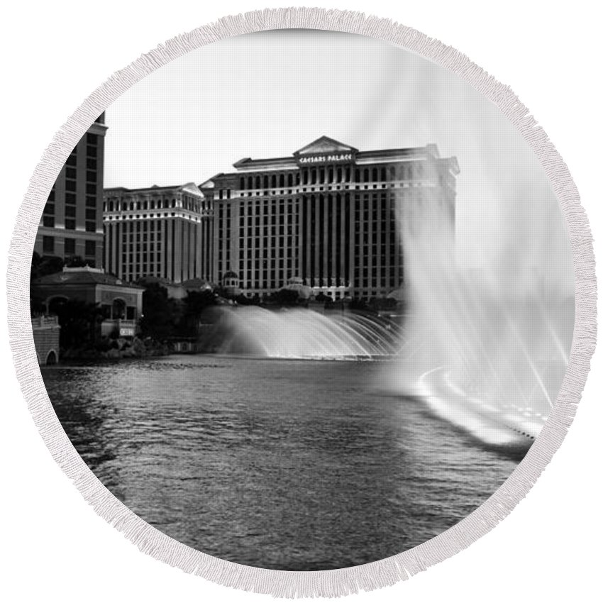 America Round Beach Towel featuring the photograph Bellagio Fountains II by Ricky Barnard