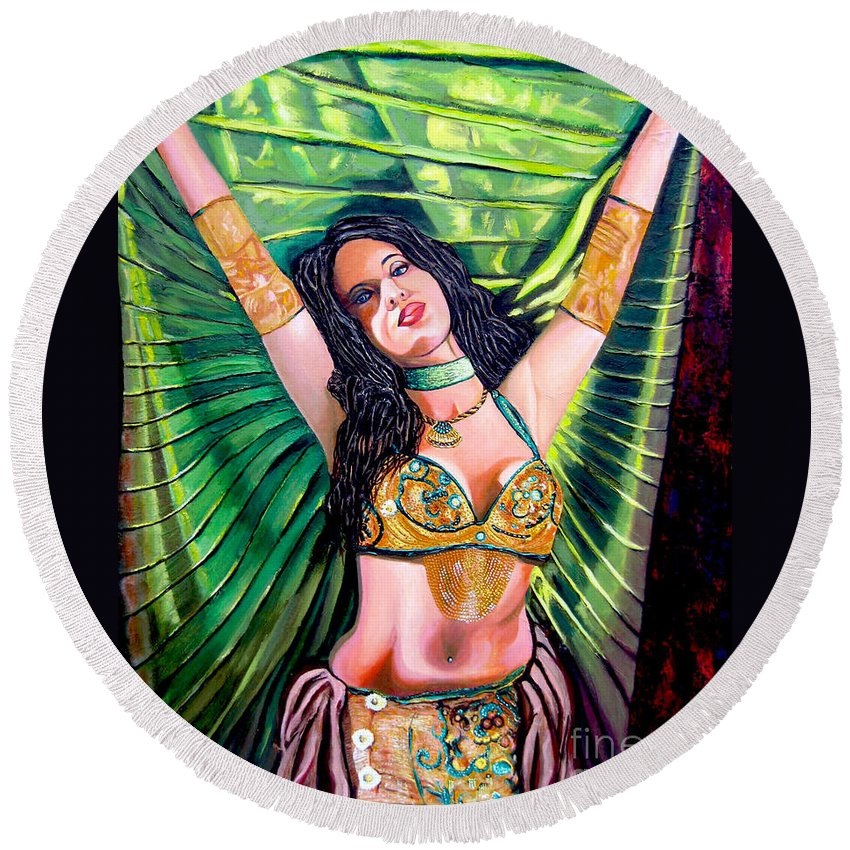 Girl Round Beach Towel featuring the painting Belly Dancer by Jose Manuel Abraham