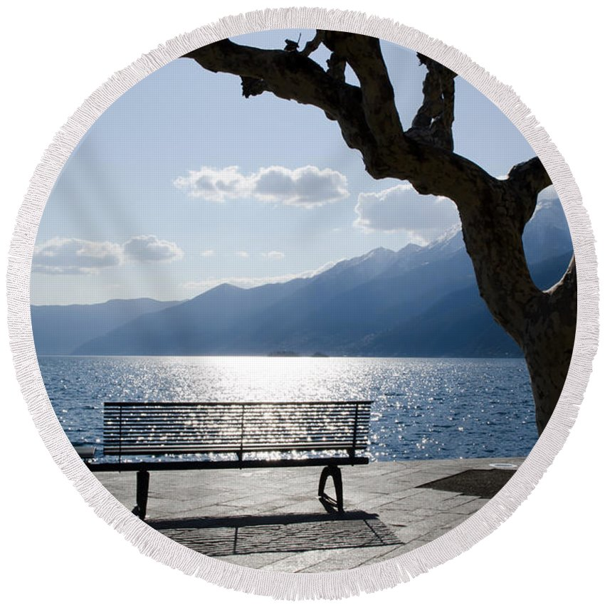 Bench Round Beach Towel featuring the photograph Bench And Tree On An Alpine Lake by Mats Silvan