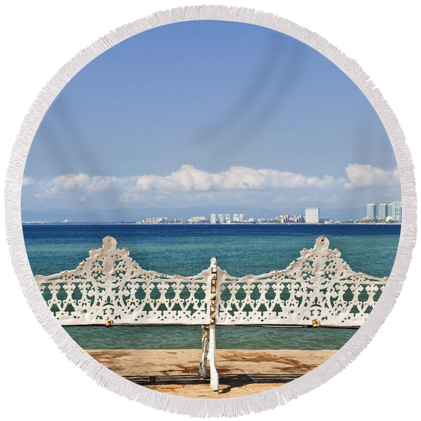 Bench Round Beach Towel featuring the photograph Bench On Malecon In Puerto Vallarta by Elena Elisseeva