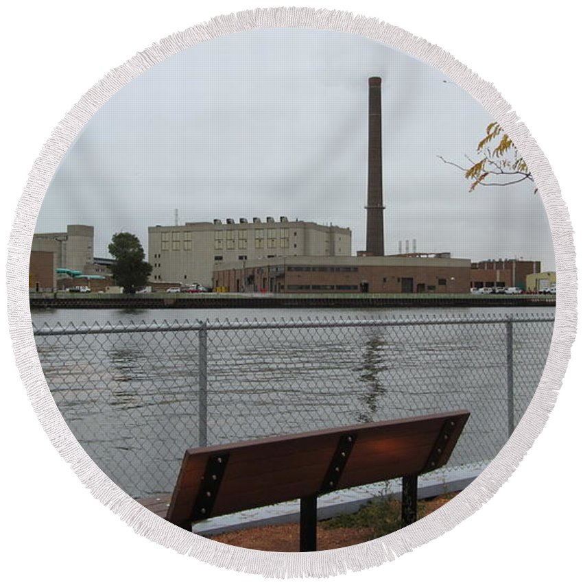 Milwaukee Round Beach Towel featuring the photograph Bench With Industrial View by Anita Burgermeister