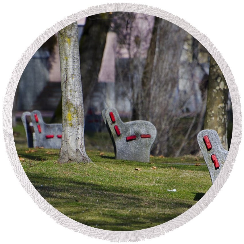 Benches Round Beach Towel featuring the photograph Benches by Mats Silvan