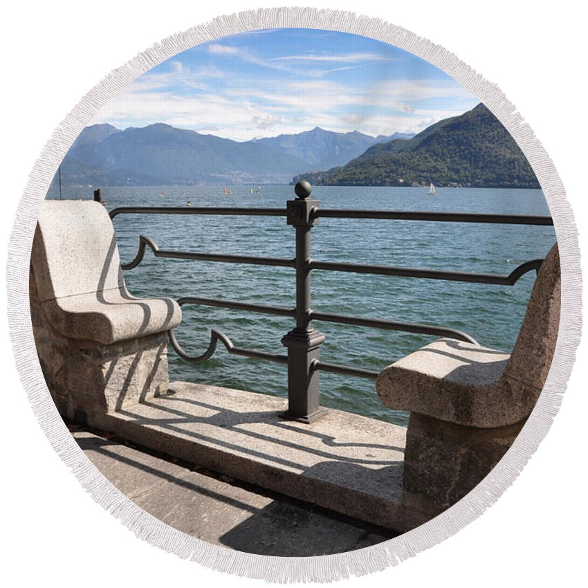 Bench Round Beach Towel featuring the photograph Benches On The Lake Front by Mats Silvan
