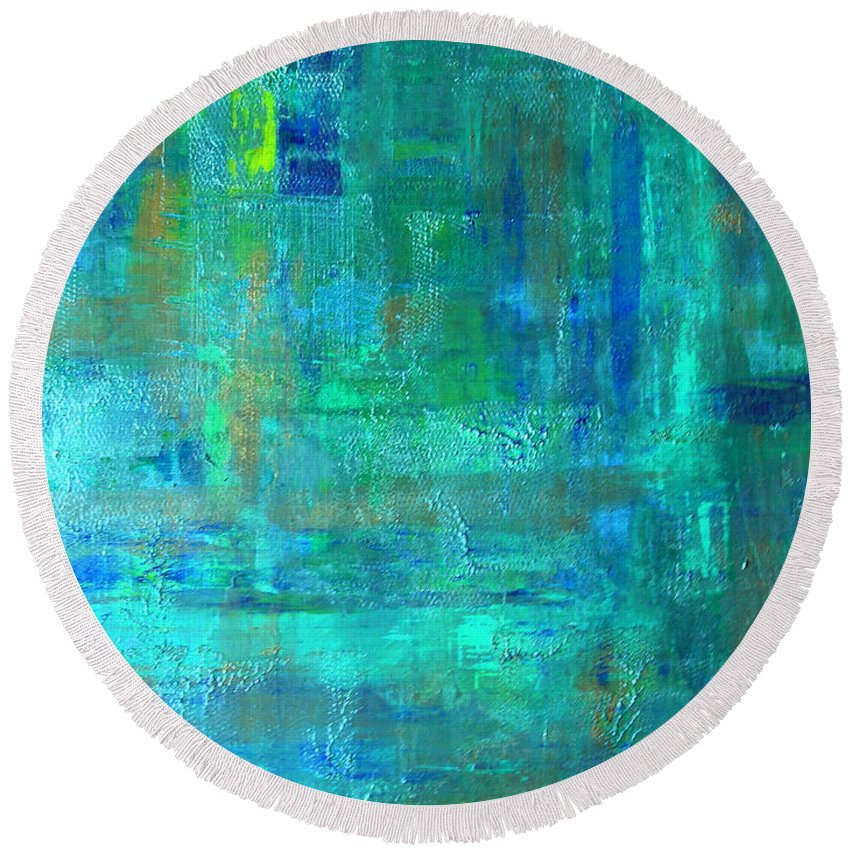 Abstract Round Beach Towel featuring the painting Beneath The Sea by Peggy Starks
